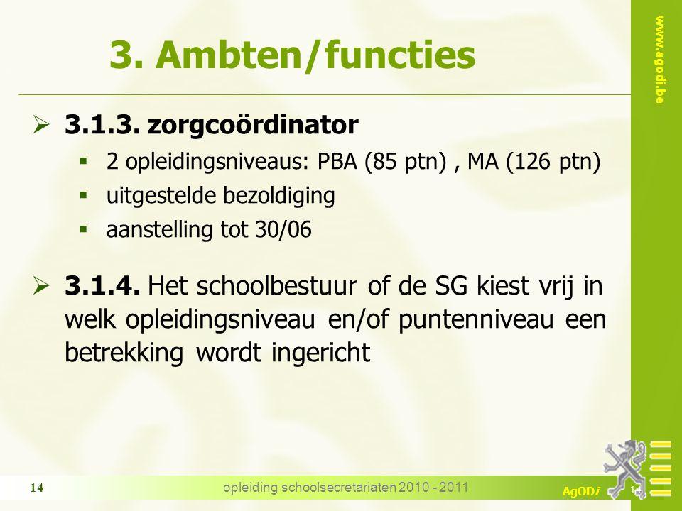 www.agodi.be AgODi opleiding schoolsecretariaten 2010 - 2011 14 3. Ambten/functies  3.1.3. zorgcoördinator  2 opleidingsniveaus: PBA (85 ptn), MA (1