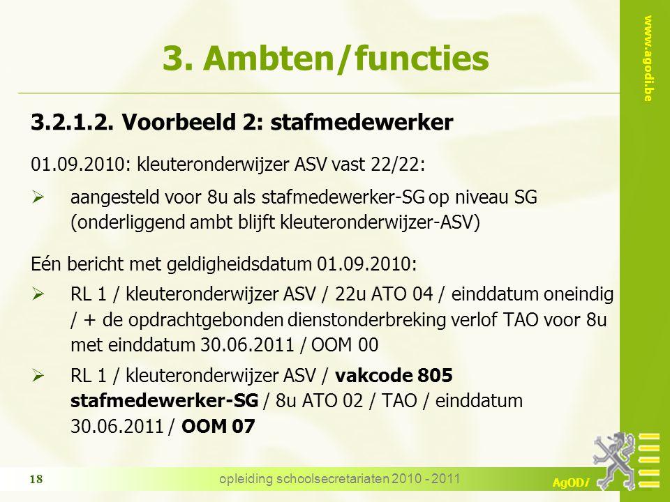 www.agodi.be AgODi opleiding schoolsecretariaten 2010 - 2011 18 3. Ambten/functies 3.2.1.2. Voorbeeld 2: stafmedewerker 01.09.2010: kleuteronderwijzer