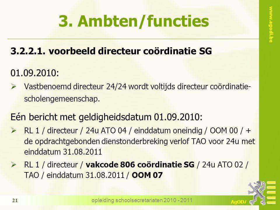 www.agodi.be AgODi opleiding schoolsecretariaten 2010 - 2011 21 3. Ambten/functies 3.2.2.1. voorbeeld directeur coördinatie SG 01.09.2010:  Vastbenoe