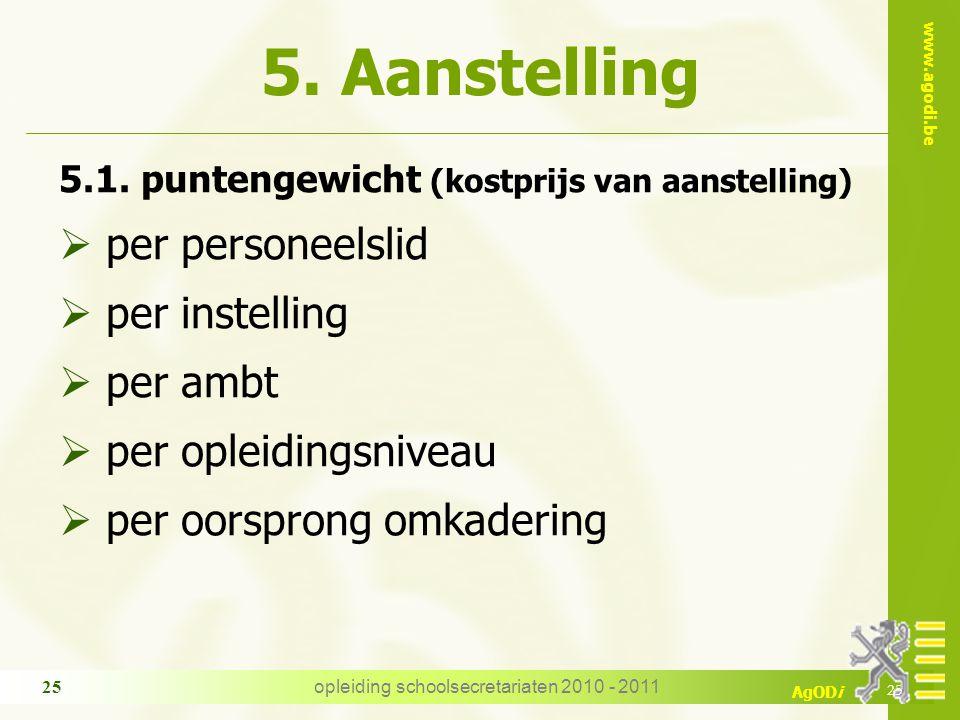 www.agodi.be AgODi opleiding schoolsecretariaten 2010 - 2011 25 5. Aanstelling 5.1. puntengewicht (kostprijs van aanstelling)  per personeelslid  pe