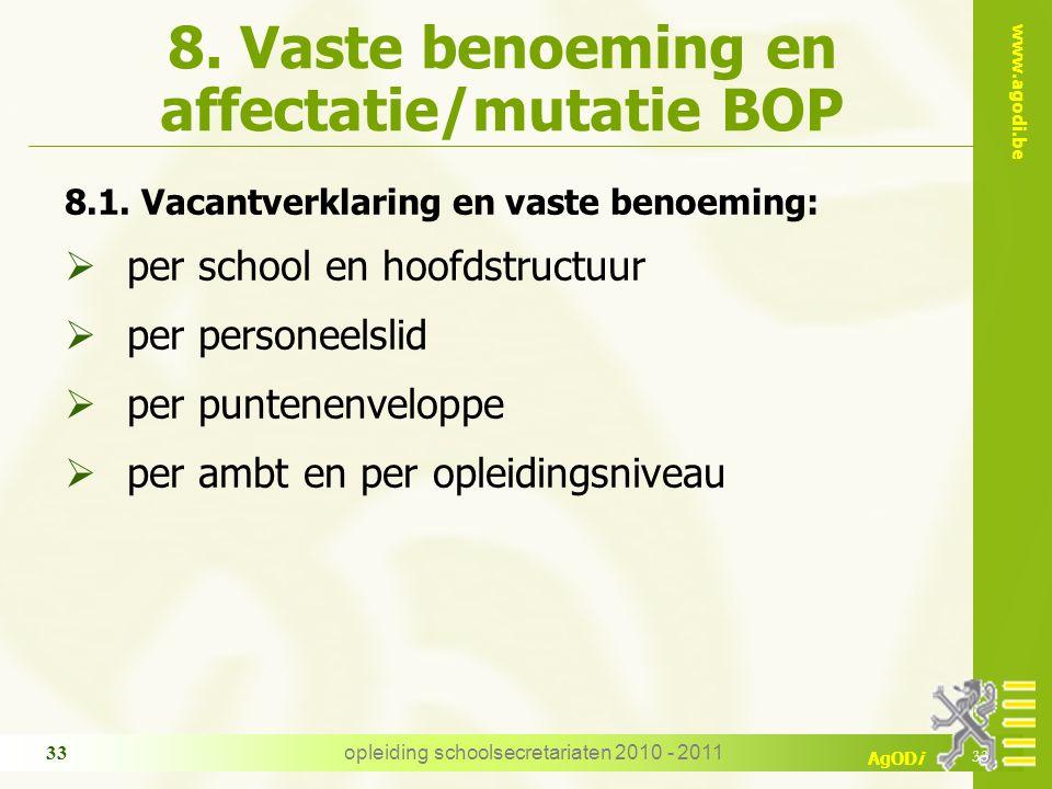 www.agodi.be AgODi opleiding schoolsecretariaten 2010 - 2011 33 8. Vaste benoeming en affectatie/mutatie BOP 8.1. Vacantverklaring en vaste benoeming: