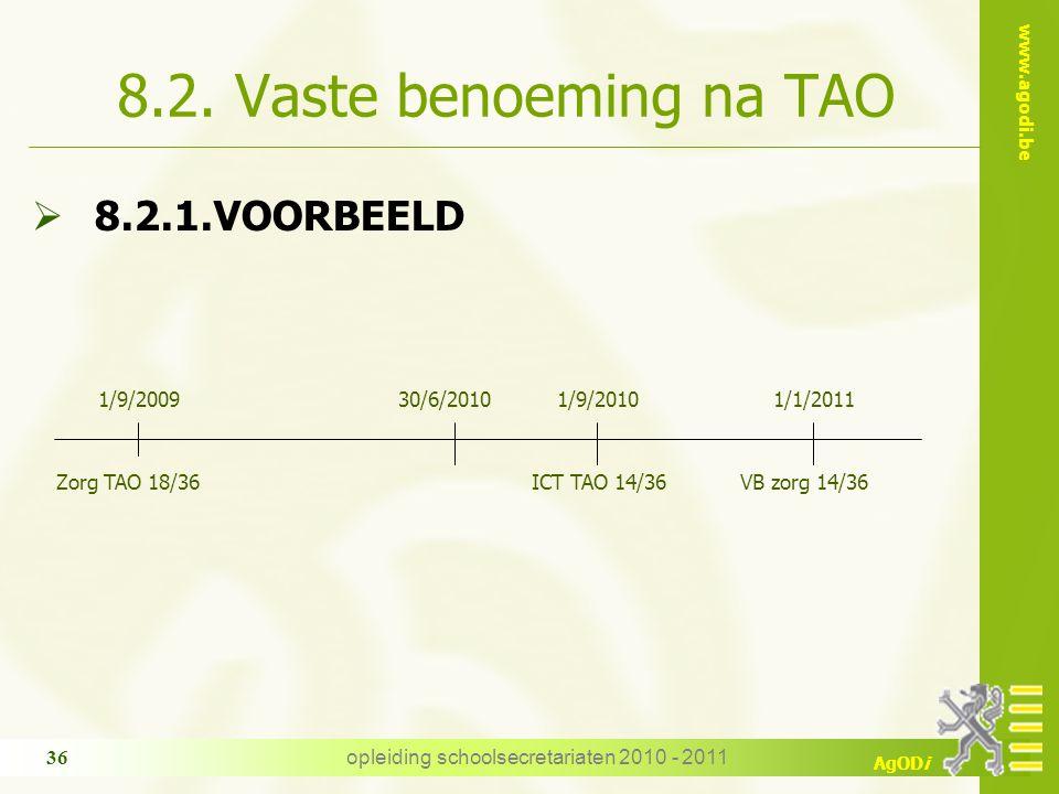 www.agodi.be AgODi opleiding schoolsecretariaten 2010 - 2011 36 8.2. Vaste benoeming na TAO  8.2.1.VOORBEELD Zorg TAO 18/36 1/9/200930/6/20101/9/2010