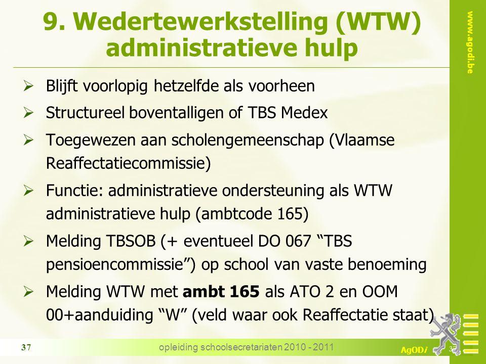 www.agodi.be AgODi opleiding schoolsecretariaten 2010 - 2011 37 9. Wedertewerkstelling (WTW) administratieve hulp  Blijft voorlopig hetzelfde als voo