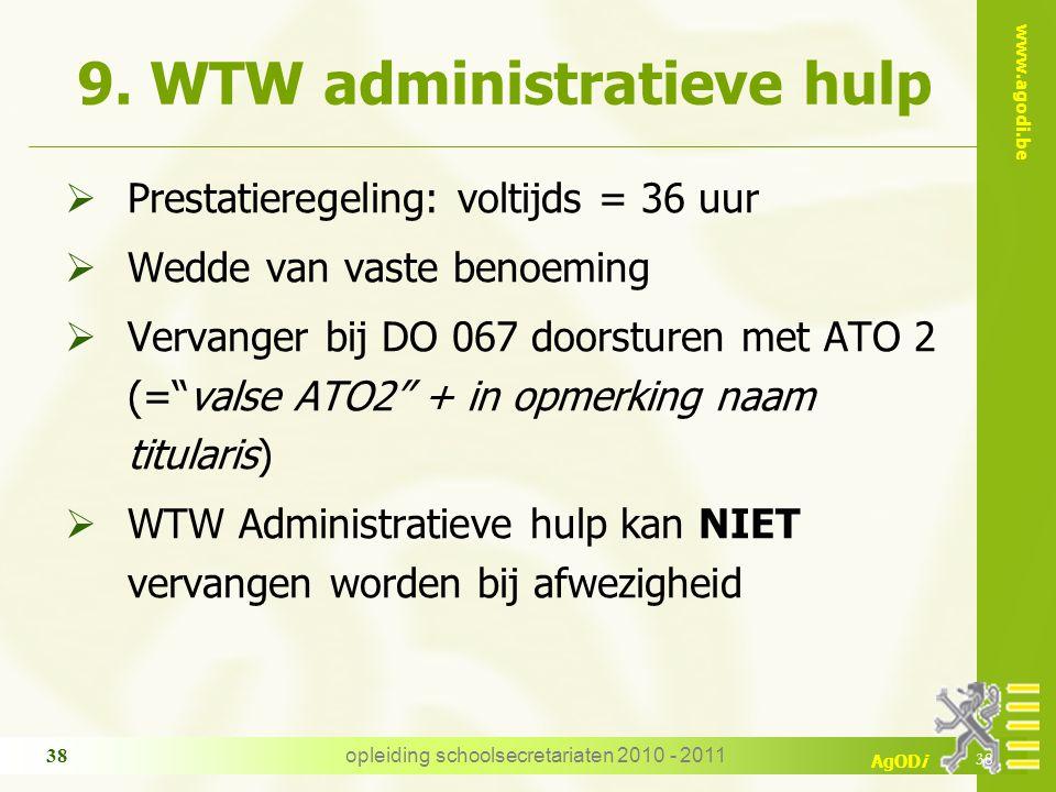 www.agodi.be AgODi opleiding schoolsecretariaten 2010 - 2011 38 9. WTW administratieve hulp  Prestatieregeling: voltijds = 36 uur  Wedde van vaste b