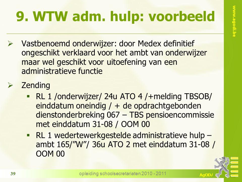 www.agodi.be AgODi opleiding schoolsecretariaten 2010 - 2011 39 9. WTW adm. hulp: voorbeeld  Vastbenoemd onderwijzer: door Medex definitief ongeschik