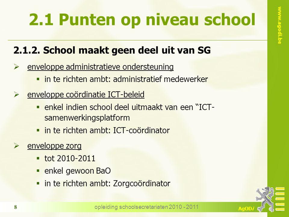 www.agodi.be AgODi opleiding schoolsecretariaten 2010 - 2011 8 2.1 Punten op niveau school 2.1.2. School maakt geen deel uit van SG  enveloppe admini