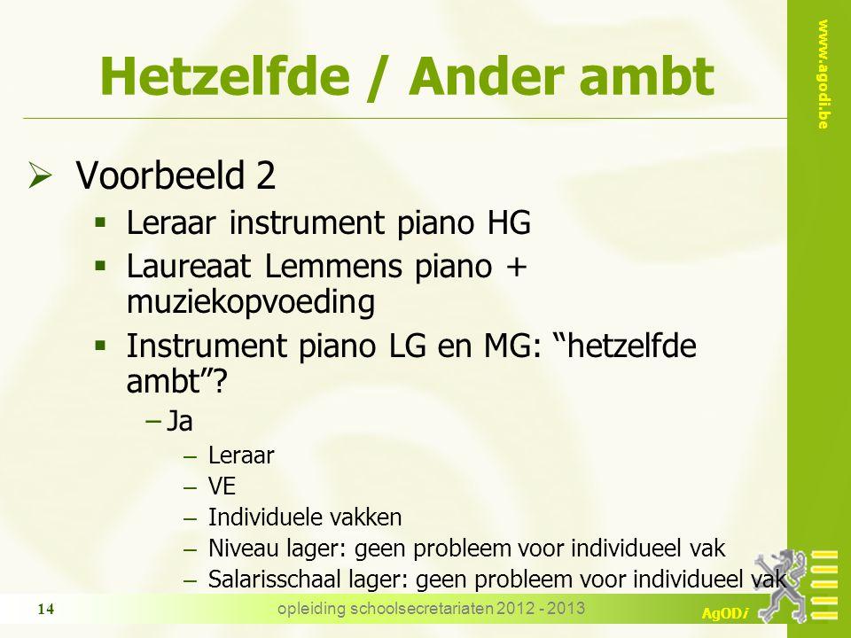www.agodi.be AgODi opleiding schoolsecretariaten 2012 - 2013 14 Hetzelfde / Ander ambt  Voorbeeld 2  Leraar instrument piano HG  Laureaat Lemmens piano + muziekopvoeding  Instrument piano LG en MG: hetzelfde ambt .