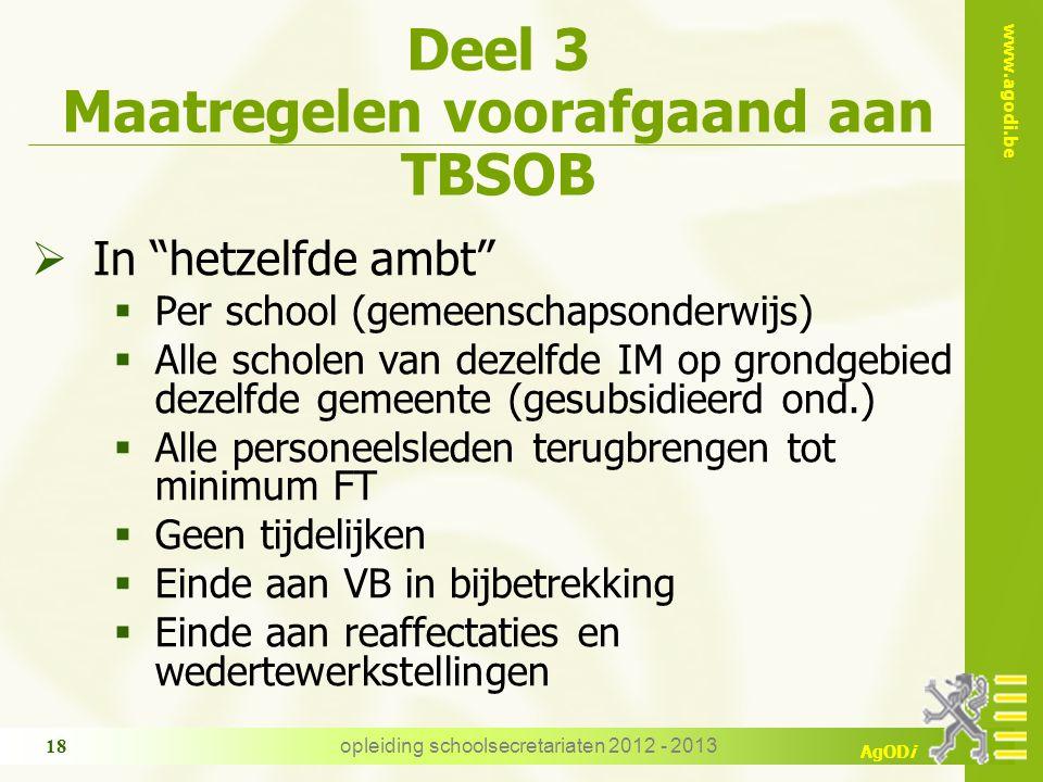 """www.agodi.be AgODi opleiding schoolsecretariaten 2012 - 2013 18 Deel 3 Maatregelen voorafgaand aan TBSOB  In """"hetzelfde ambt""""  Per school (gemeensch"""