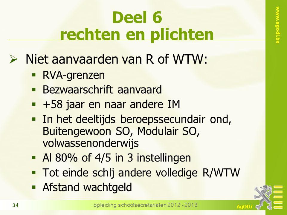 www.agodi.be AgODi opleiding schoolsecretariaten 2012 - 2013 34 Deel 6 rechten en plichten  Niet aanvaarden van R of WTW:  RVA-grenzen  Bezwaarschr