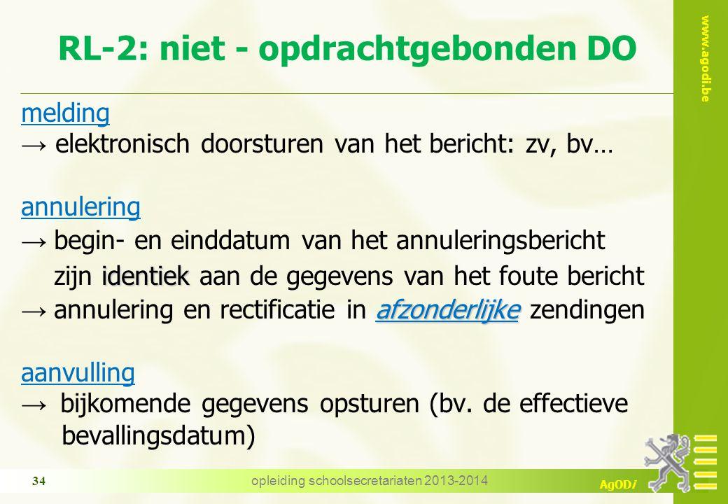 www.agodi.be AgODi RL-2: niet - opdrachtgebonden DO melding → elektronisch doorsturen van het bericht: zv, bv… annulering → begin- en einddatum van he