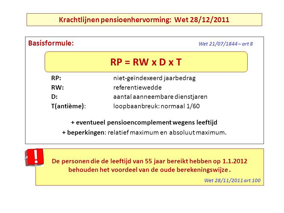 Basisformule: Wet 21/07/1844 – art 8 RP: niet-geïndexeerd jaarbedrag RW: referentiewedde D: aantal aanneembare dienstjaren T(antième): loopbaanbreuk: normaal 1/60 + eventueel pensioencomplement wegens leeftijd + beperkingen: relatief maximum en absoluut maximum.