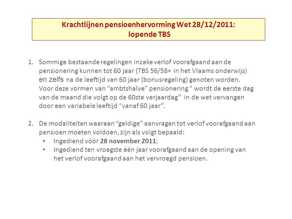 Krachtlijnen pensioenhervorming Wet 28/12/2011: lopende TBS 1.Sommige bestaande regelingen inzake verlof voorafgaand aan de pensionering kunnen tot 60 jaar (TBS 56/58+ in het Vlaams onderwijs) en zelfs na de leeftijd van 60 jaar (bonusregeling) genoten worden.