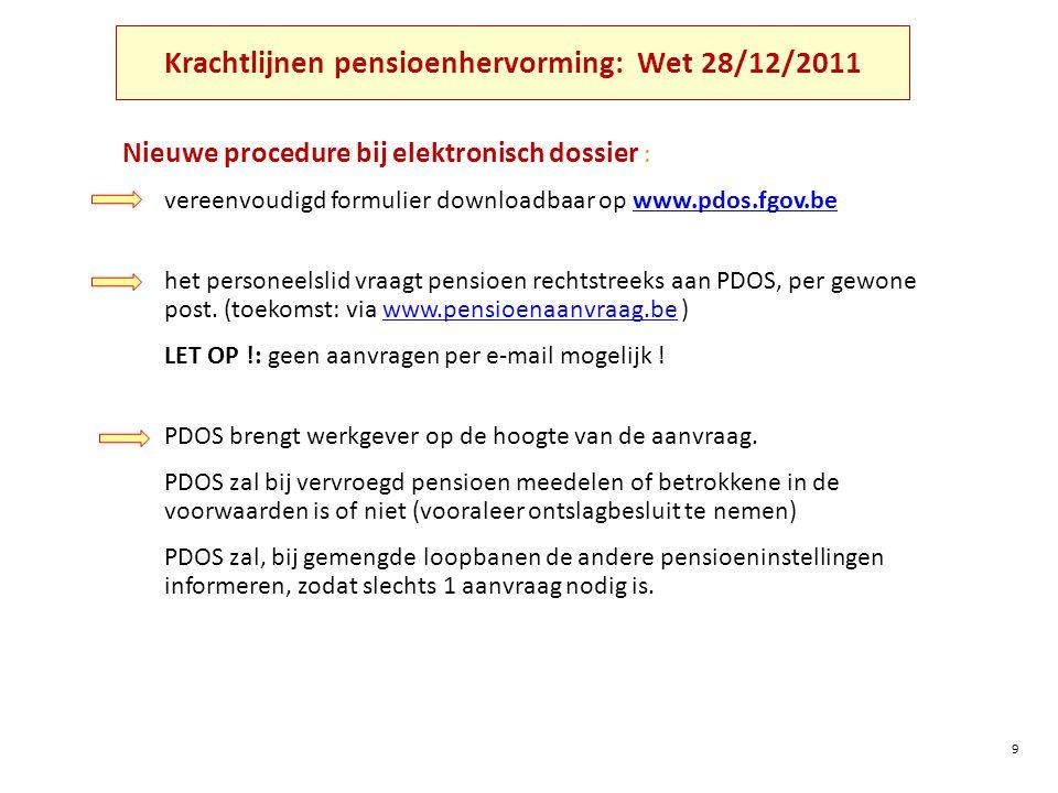 Krachtlijnen pensioenhervorming: Wet 28/12/2011 Nieuwe procedure bij elektronisch dossier : vereenvoudigd formulier downloadbaar op www.pdos.fgov.bewww.pdos.fgov.be het personeelslid vraagt pensioen rechtstreeks aan PDOS, per gewone post.