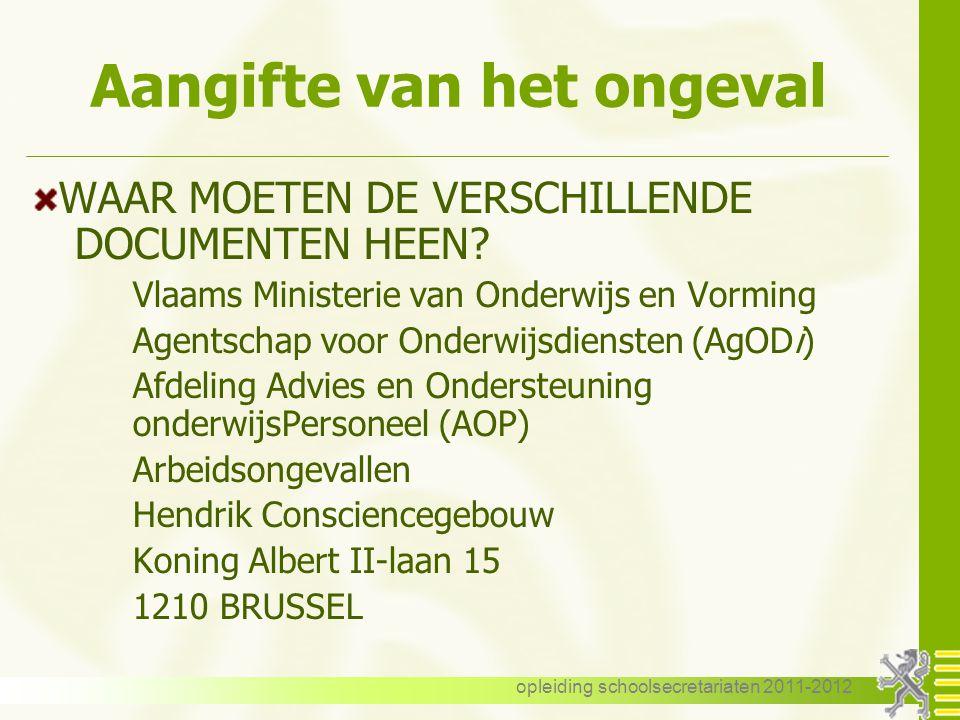 opleiding schoolsecretariaten 2011-2012 Weg - werkongeval Bewijsvoering Gelijkgestelde trajecten ! Vervroegde hervatting – verplaatsingen Medex Tegenb
