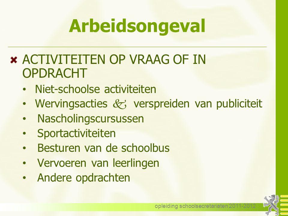 opleiding schoolsecretariaten 2011-2012 TWO Deeltijdse prestaties (art.
