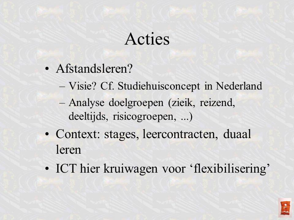 Afstandsleren? –Visie? Cf. Studiehuisconcept in Nederland –Analyse doelgroepen (zieik, reizend, deeltijds, risicogroepen,...) Context: stages, leercon