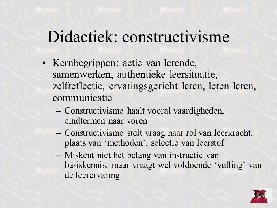 Didactiek: constructivisme Kernbegrippen: actie van lerende, samenwerken, authentieke leersituatie, zelfreflectie, ervaringsgericht leren, leren leren