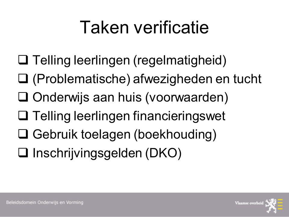 Taken verificatie  Telling leerlingen (regelmatigheid)  (Problematische) afwezigheden en tucht  Onderwijs aan huis (voorwaarden)  Telling leerling