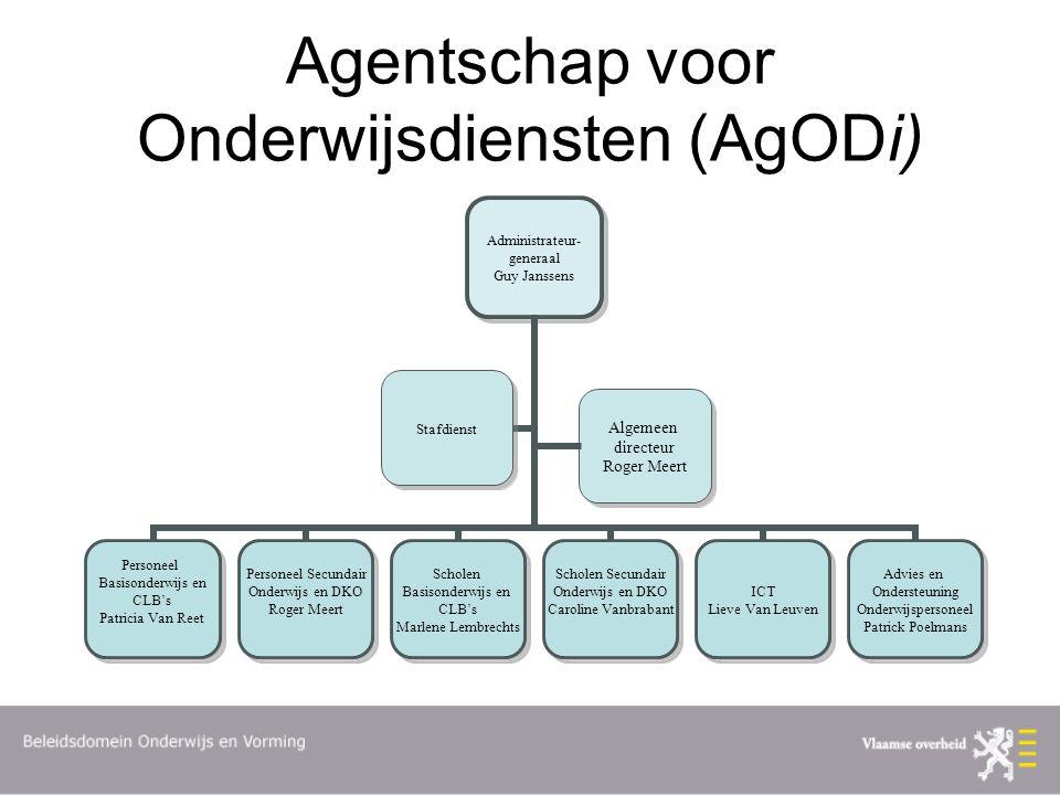 Agentschap voor Onderwijsdiensten (AgODi) Algemeen directeur Roger Meert Algemeen directeur Roger Meert