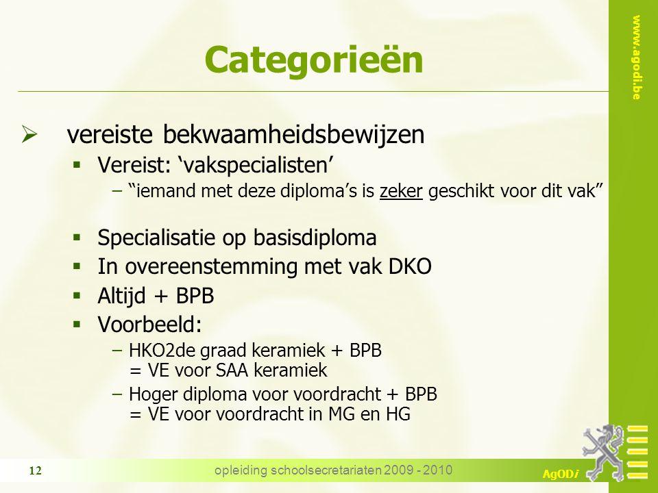 """www.agodi.be AgODi opleiding schoolsecretariaten 2009 - 2010 12 Categorieën  vereiste bekwaamheidsbewijzen  Vereist: 'vakspecialisten' −""""iemand met"""
