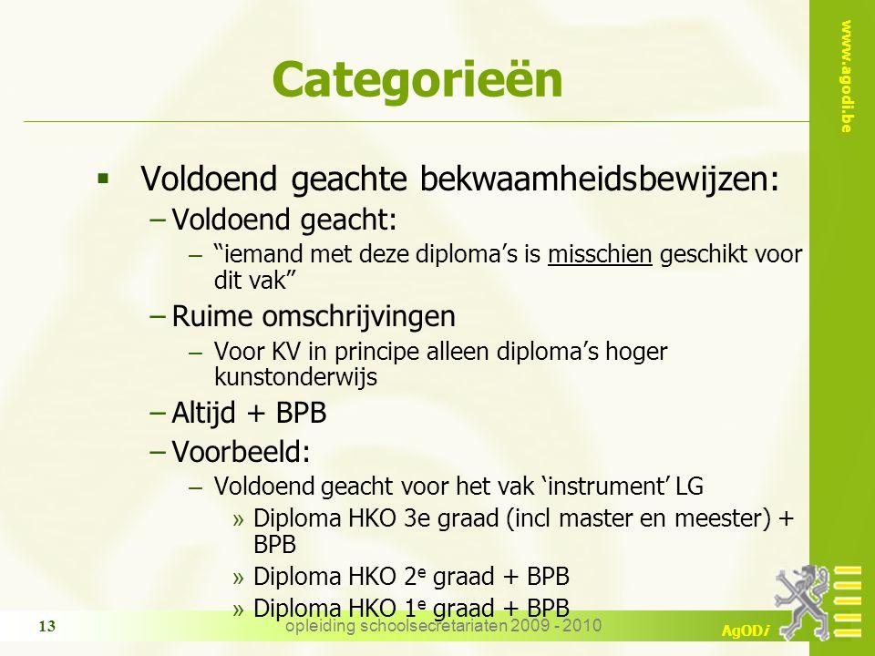 """www.agodi.be AgODi opleiding schoolsecretariaten 2009 - 2010 13 Categorieën  Voldoend geachte bekwaamheidsbewijzen: −Voldoend geacht: – """"iemand met d"""