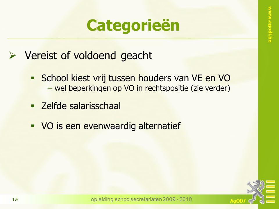 www.agodi.be AgODi opleiding schoolsecretariaten 2009 - 2010 15 Categorieën  Vereist of voldoend geacht  School kiest vrij tussen houders van VE en