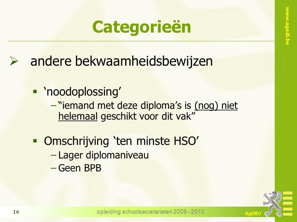 """www.agodi.be AgODi opleiding schoolsecretariaten 2009 - 2010 16 Categorieën  andere bekwaamheidsbewijzen  'noodoplossing' −""""iemand met deze diploma'"""
