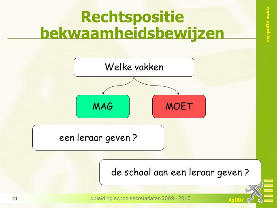 www.agodi.be AgODi opleiding schoolsecretariaten 2009 - 2010 21 Rechtspositie bekwaamheidsbewijzen Welke vakken MAGMOET een leraar geven .