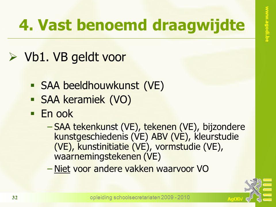 www.agodi.be AgODi opleiding schoolsecretariaten 2009 - 2010 32 4. Vast benoemd draagwijdte  Vb1. VB geldt voor  SAA beeldhouwkunst (VE)  SAA keram