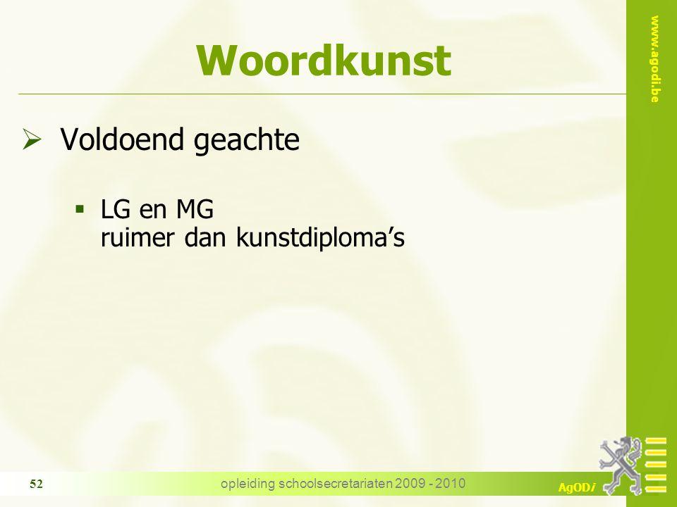 www.agodi.be AgODi opleiding schoolsecretariaten 2009 - 2010 52 Woordkunst  Voldoend geachte  LG en MG ruimer dan kunstdiploma's