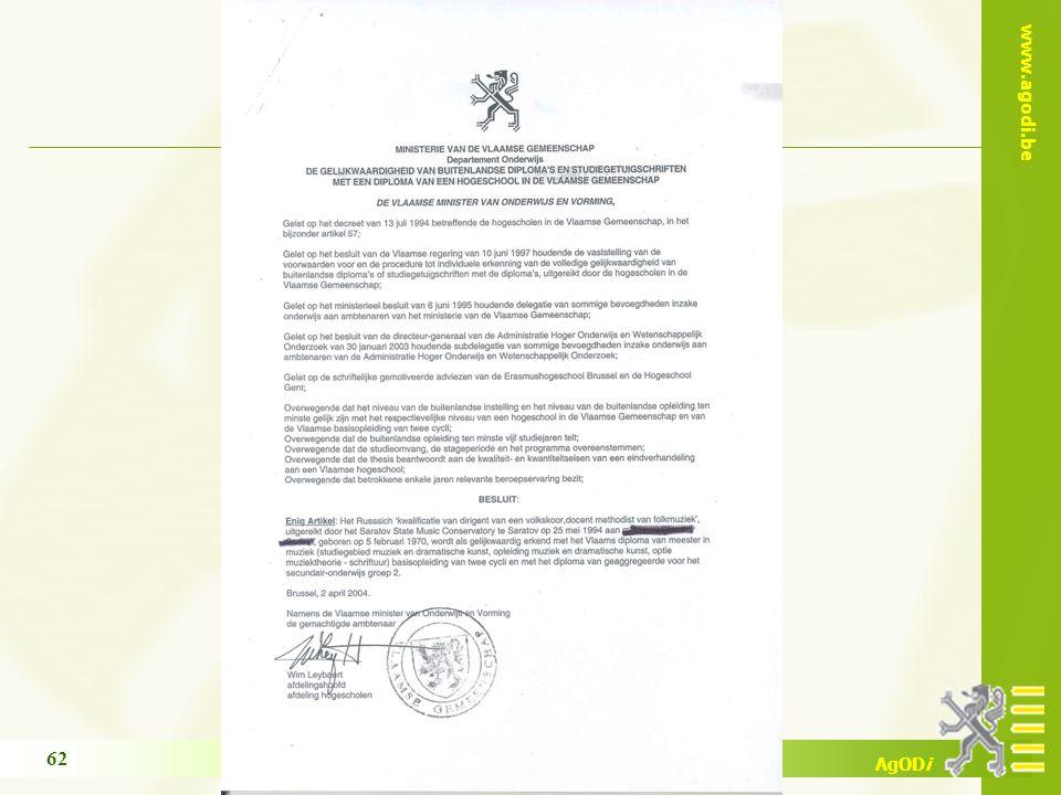 www.agodi.be AgODi opleiding schoolsecretariaten 2009 - 2010 62