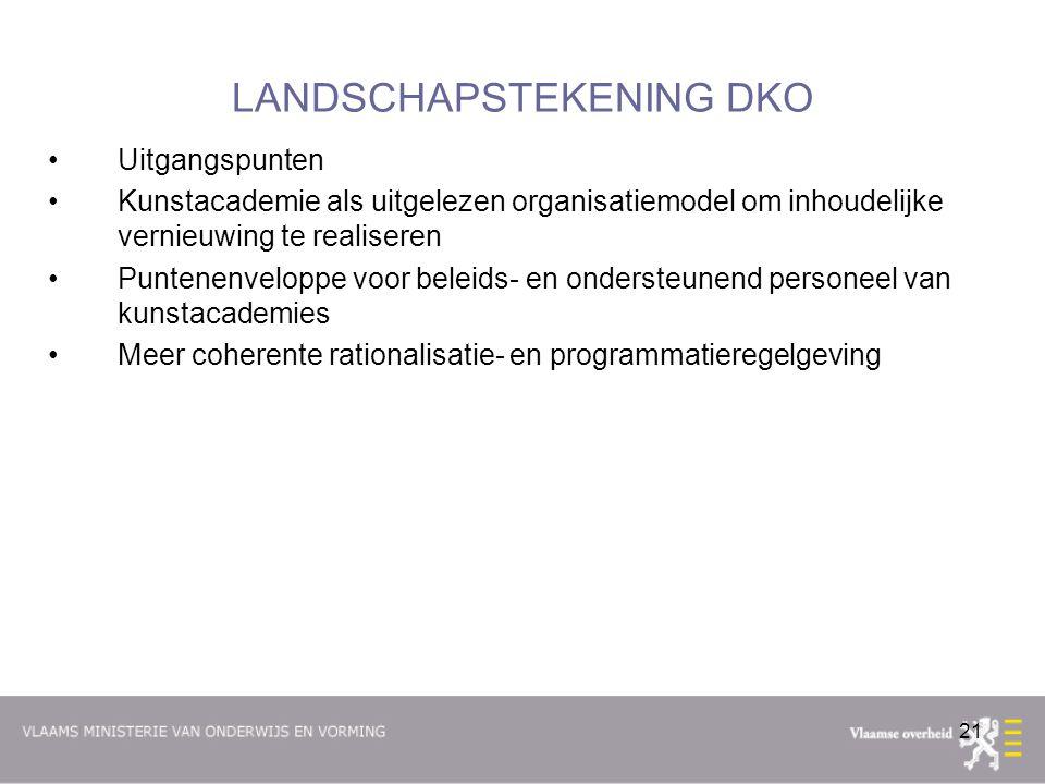 21 LANDSCHAPSTEKENING DKO Uitgangspunten Kunstacademie als uitgelezen organisatiemodel om inhoudelijke vernieuwing te realiseren Puntenenveloppe voor beleids- en ondersteunend personeel van kunstacademies Meer coherente rationalisatie- en programmatieregelgeving