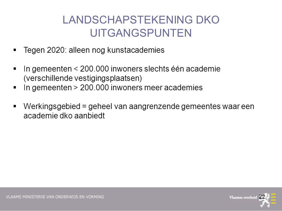 22 LANDSCHAPSTEKENING DKO UITGANGSPUNTEN  Tegen 2020: alleen nog kunstacademies  In gemeenten < 200.000 inwoners slechts één academie (verschillende vestigingsplaatsen)  In gemeenten > 200.000 inwoners meer academies  Werkingsgebied = geheel van aangrenzende gemeentes waar een academie dko aanbiedt