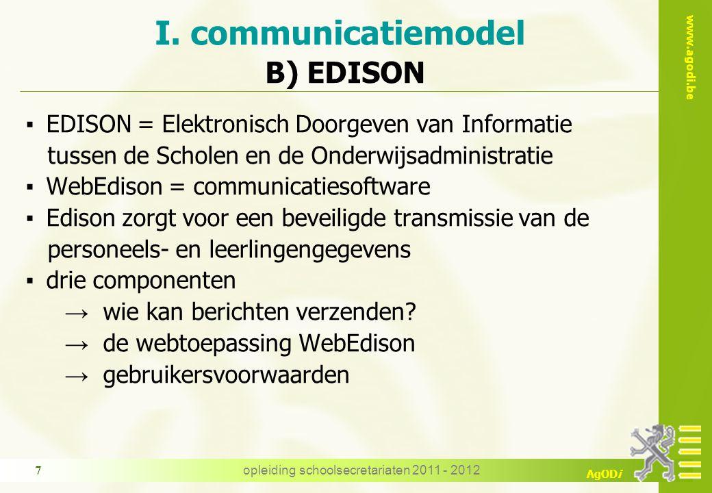 www.agodi.be AgODi opleiding schoolsecretariaten 2011 - 2012 18 De manier waarop de gegevens in het elektronisch dossier worden geregistreerd A.