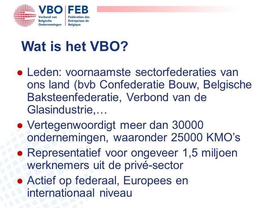 Wat is het VBO? l Leden: voornaamste sectorfederaties van ons land (bvb Confederatie Bouw, Belgische Baksteenfederatie, Verbond van de Glasindustrie,…