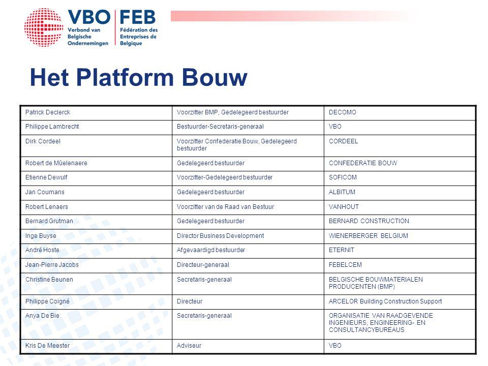 Het Platform Bouw Patrick DeclerckVoorzitter BMP, Gedelegeerd bestuurderDECOMO Philippe LambrechtBestuurder-Secretaris-generaalVBO Dirk CordeelVoorzit
