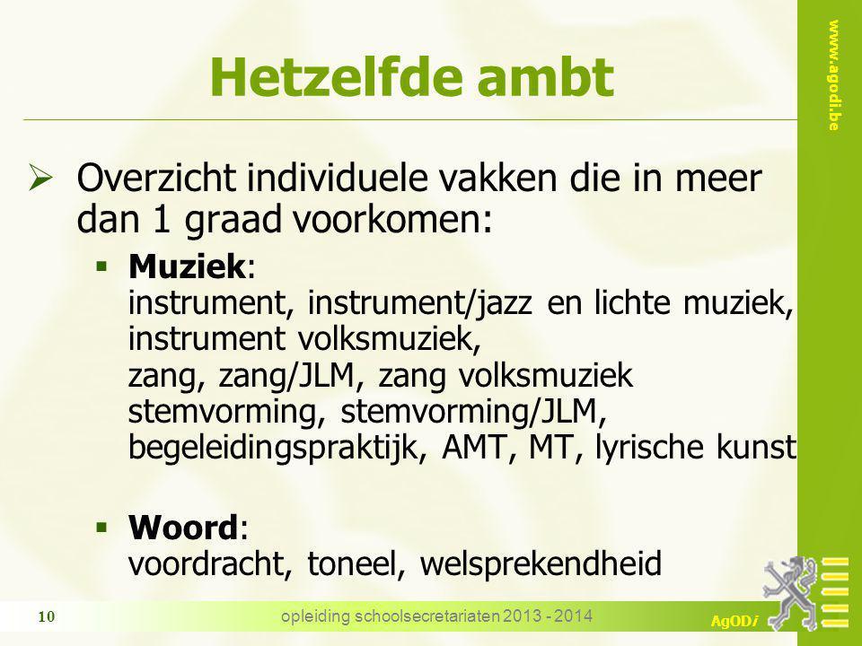 www.agodi.be AgODi Hetzelfde ambt  Overzicht individuele vakken die in meer dan 1 graad voorkomen:  Muziek: instrument, instrument/jazz en lichte mu