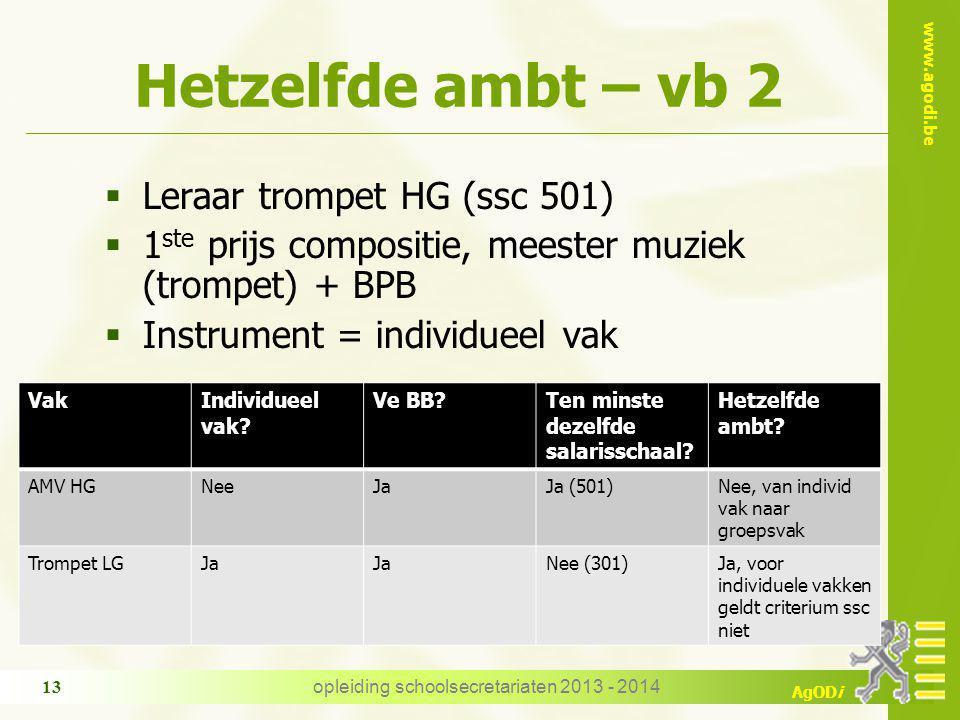 www.agodi.be AgODi Hetzelfde ambt – vb 2  Leraar trompet HG (ssc 501)  1 ste prijs compositie, meester muziek (trompet) + BPB  Instrument = individ