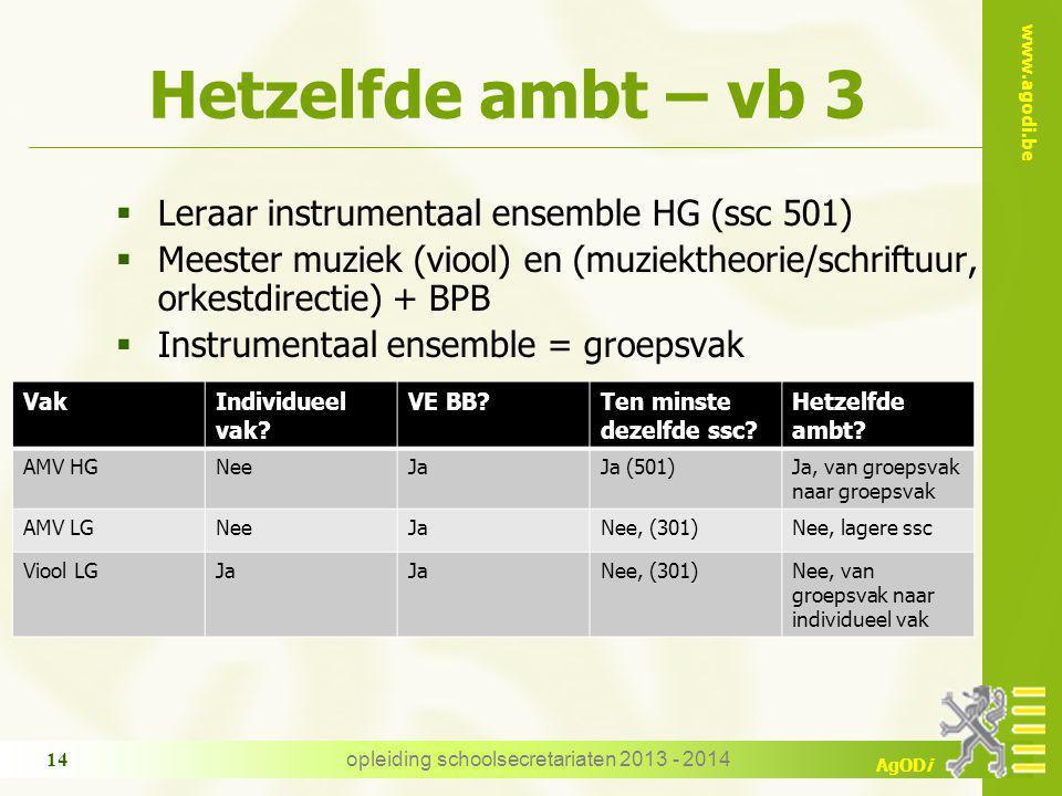 www.agodi.be AgODi Hetzelfde ambt – vb 3  Leraar instrumentaal ensemble HG (ssc 501)  Meester muziek (viool) en (muziektheorie/schriftuur, orkestdir