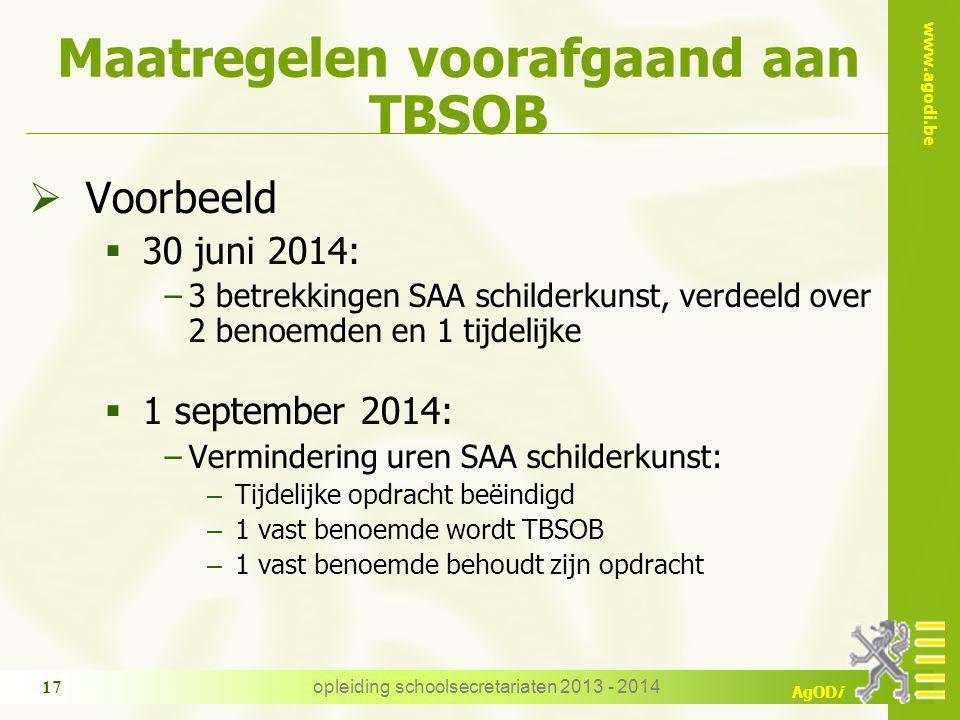 www.agodi.be AgODi Maatregelen voorafgaand aan TBSOB  Voorbeeld  30 juni 2014: −3 betrekkingen SAA schilderkunst, verdeeld over 2 benoemden en 1 tij