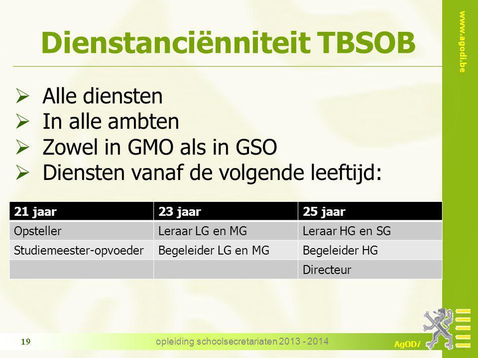 www.agodi.be AgODi Dienstanciënniteit TBSOB  Alle diensten  In alle ambten  Zowel in GMO als in GSO  Diensten vanaf de volgende leeftijd: opleidin