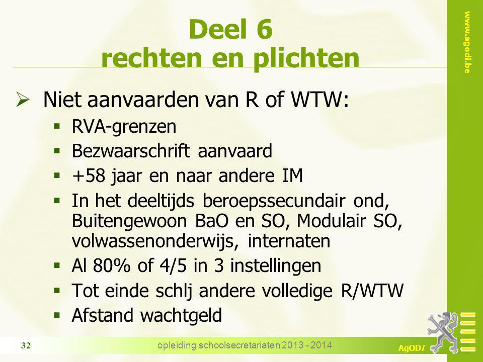 www.agodi.be AgODi Deel 6 rechten en plichten  Niet aanvaarden van R of WTW:  RVA-grenzen  Bezwaarschrift aanvaard  +58 jaar en naar andere IM  I