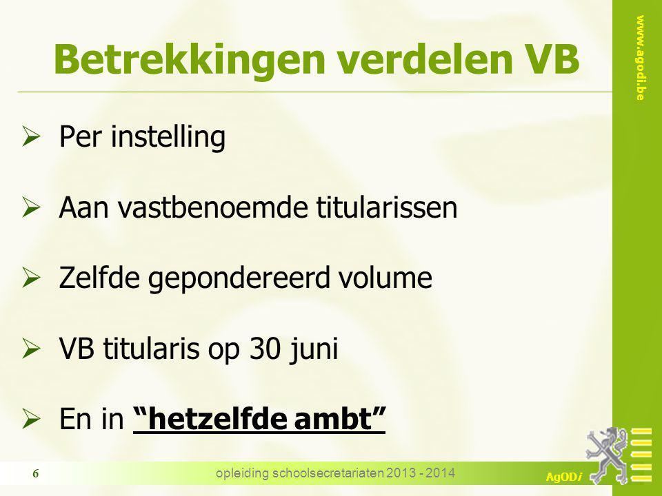 www.agodi.be AgODi Betrekkingen verdelen VB  Per instelling  Aan vastbenoemde titularissen  Zelfde gepondereerd volume  VB titularis op 30 juni 