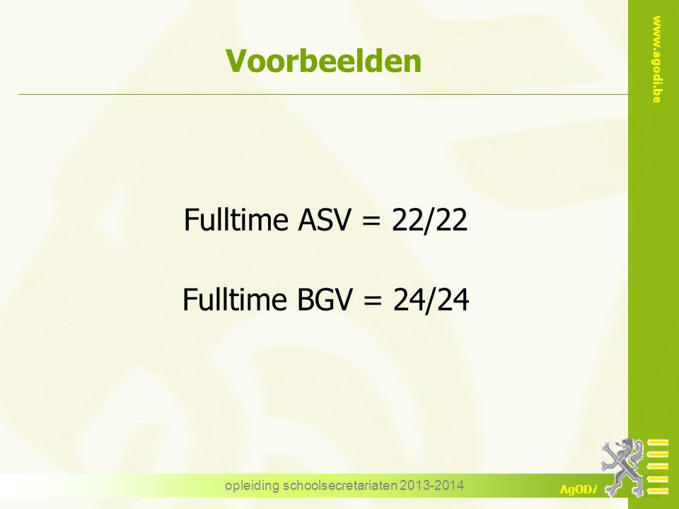 www.agodi.be AgODi opleiding schoolsecretariaten 2013-2014 Voorbeelden Fulltime ASV = 22/22 Fulltime BGV = 24/24