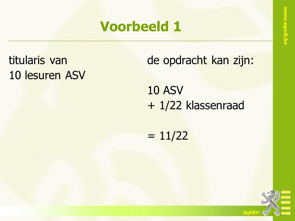 www.agodi.be AgODi Voorbeeld 1 titularis van 10 lesuren ASV de opdracht kan zijn: 10 ASV + 1/22 klassenraad = 11/22