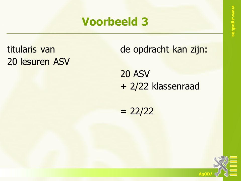 www.agodi.be AgODi Voorbeeld 3 titularis van 20 lesuren ASV de opdracht kan zijn: 20 ASV + 2/22 klassenraad = 22/22