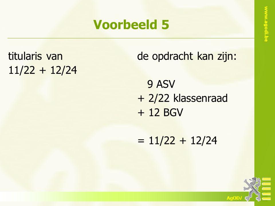 www.agodi.be AgODi Voorbeeld 5 titularis van 11/22 + 12/24 de opdracht kan zijn: 9 ASV + 2/22 klassenraad + 12 BGV = 11/22 + 12/24