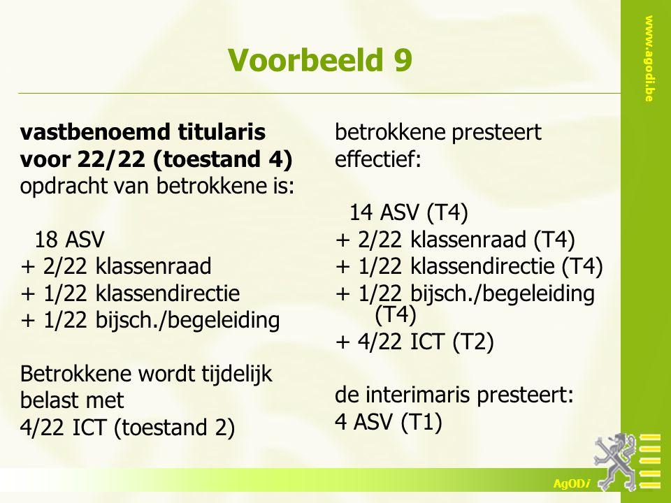 www.agodi.be AgODi Voorbeeld 9 vastbenoemd titularis voor 22/22 (toestand 4) opdracht van betrokkene is: 18 ASV + 2/22 klassenraad + 1/22 klassendirec