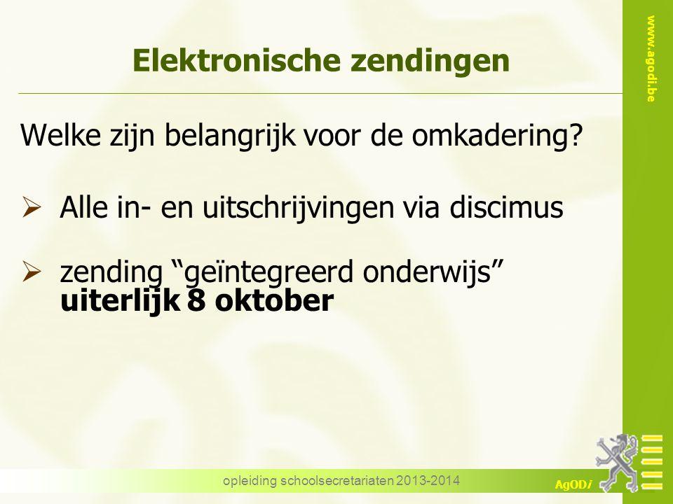www.agodi.be AgODi opleiding schoolsecretariaten 2013-2014 Elektronische zendingen Welke zijn belangrijk voor de omkadering?  Alle in- en uitschrijvi
