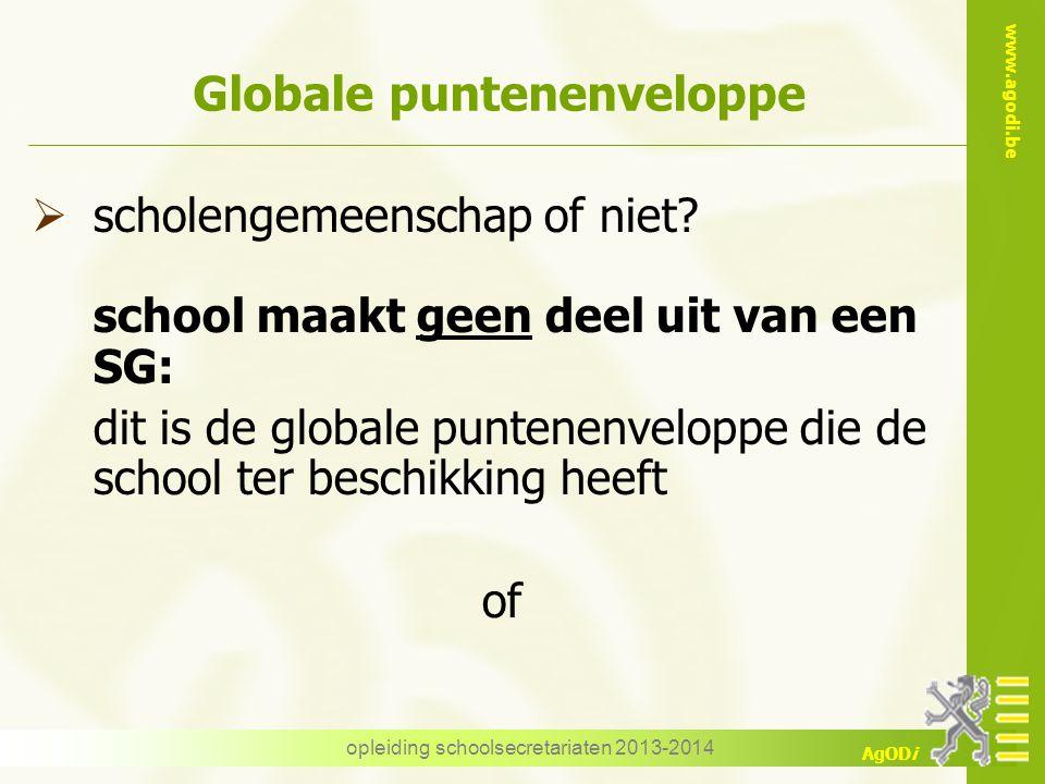 www.agodi.be AgODi opleiding schoolsecretariaten 2013-2014 Globale puntenenveloppe  scholengemeenschap of niet? school maakt geen deel uit van een SG